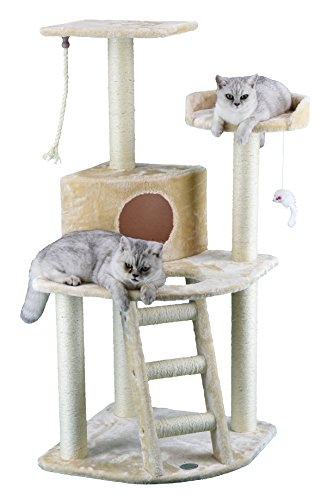 Condo Scratcher - Go Pet Club Cat Tree Condo House, 32W x 25L x 47.5H Inches, Beige