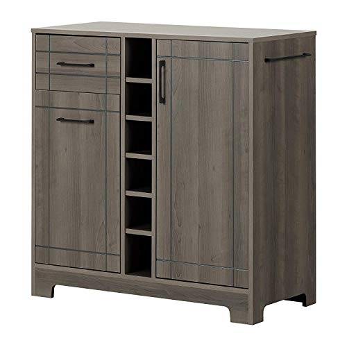 Bar Cabinet Bottle Holder Wine Rack Sliding Doors Storage Organizer Unit Shelves Drawers Display Buffet Cupboard Kitchen Dining Room Modern Furniture Sideboard Gray Maple ()