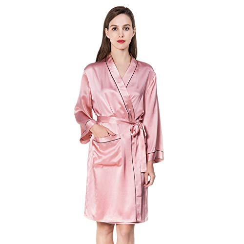 - COLD POSH Women's 100% Silk Satin Robe Long Sleeve Bathrobe Sexy Sleepwear Solid Color Classic Nightgown Luxury Gift,Pink,S/M