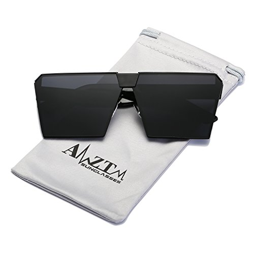 AMZTM Square Oversized Polarized Metal Sunglasses For Women and Men Trend Fashion Mirrored Reflective Lens (Black Frame Grey Lens, - Big Sunglasses Mens