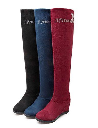 Tacón Eu39 Redonda Botas Cuña Xzz Cn40 Uk6 La Red 5 Zapatos 5 De us8 Cuñas us8 Vellón Moda Punta Mujer A Cn Vestido Negro Blue 5 Casual Azul Rojo 0rq8t1w8S