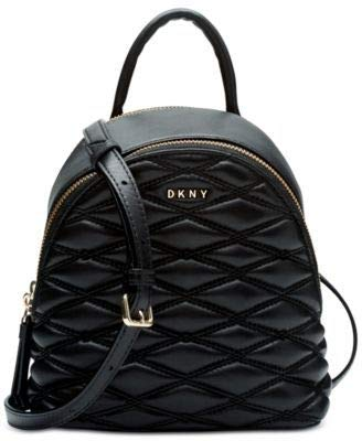 DKNY Lara Mini Quilted Leather Backpack Crossbody