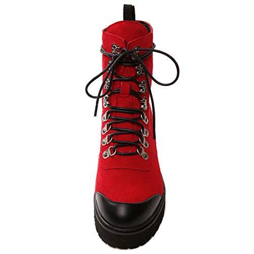 Autres Cuir Jushee Cheville 39 Femme CM 4 Rouge Lacer Juaccor Bloc Bottes q1qw0g
