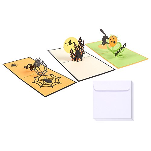 Set of 3 Halloween Greeting Cards - 3D Pop-Up Cards with Spider, Witch and 'Boo' Themes - Includes Envelopes, 4.7 x 4.7 Inches -