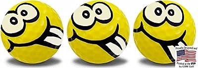 GBM Golf Goofy Smiley Face Novelty Golf Balls Full Wrap Design 3 Pack