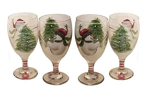 Set of 4 Snowman Design Eggnog Glasses. Hand Painted. Made to Order