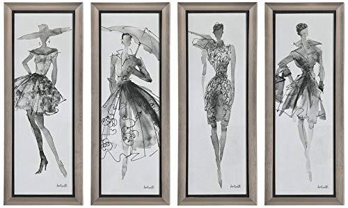 Uttermost 33624 Fashion Sketchbook Art, Set 4, Gray and Black