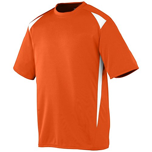 Augusta Activewear Men's Hemmed Sleeves Crewneck Jersey, Orange/White, - New Near Jersey Malls