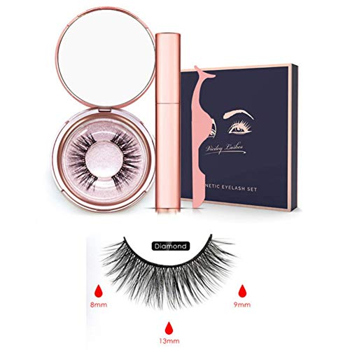 Edal Magnetic Eyeliner with 3D Magnetic Eyelash Set Natural Full Eye Magnet Eyelashes Ultra-thin Reusable and Handmade 5 Magnet Eyelashes False Fake Lashes with Eyelash Tweezer, Great Gift.