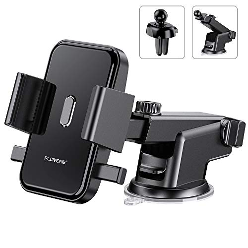 - Cell Phone Holder for Car FLOVEME 2 in 1 Kits Long Neck 360 Rotate One Touch Auto-Grip Dashboard/Windshield/Air Vent Car Phone Mount for iPhone Xs Max XR X 8 7 Plus Samsung Galaxy Note 9 8 S10 S9 S8
