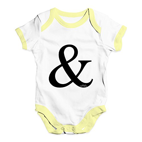 TWISTED ENVY Babygrow Baby Romper Alphabet Monogram & Ampersand Baby Unisex Baby Grow Bodysuit 0-3 Months White Yellow Trim