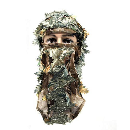 ller76 Camo 3D Leaf Ghillie Camouflage Face Mask. Leafy, Full Coverage, Breathable Hunting Mask with Customizable Fit. Great for Turkey Hunting!(Green)