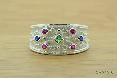Ring Style Etruscan (Princess Cut Emerald Byzantine Style Ring, Byzantine Rubies Emerald Sapphires CZ Ring, CZ Band Ring, Sterling Silver Ring, Etruscan Style Ring, Byzantine Ring, Greek Jewelry, Luxury Ring, Medieval Ring, Elegant Sterling Silver Ring)