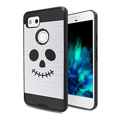 Capsule Case Compatible with Google Pixel 2 XL (2017) [Hybrid Fusion Dual Layer Slick Armor Case Black] for Pixel 2XL- (Halloween Skull) ()