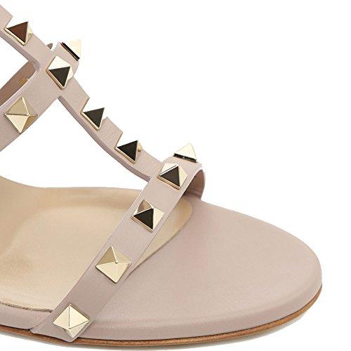 Sandales Pour Femmes, Rivets Cloutés Talons Bloc Moulantes Slingback Chaussures Spartiates Découpez Sandales Habillées Nue