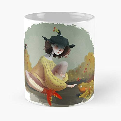 (Witch Toad Crow Raven Magic Frog Magical Hat Illustration Digitalillustration Photoshop New Friend Animals Girl Sorceress Striped Socks Coffee Mugs Best Gift 11 Oz)