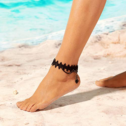 Asooll Boho Turquoise Shell Anklet Silver Beaded Ankle Bracelets Beach Jewelry for Women and Girls