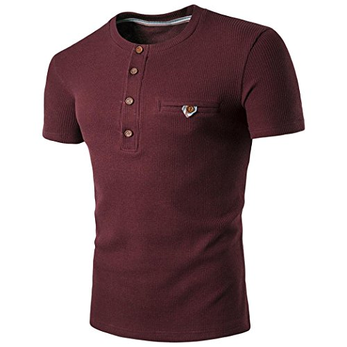 Mens Slim Fit T-Shirt,BeautyVan Fashion Design Men's Summer Short Sleeve Slim Fit Polo T-Shirts O-Neck Casual Blouse (XL, Wine
