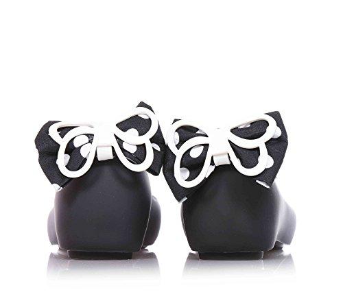MINI MELISSA - Ballerine noire en MELFLEX plastique, une gomme parfumée, avec arc à pois à l'arrière, fille, filles, femme