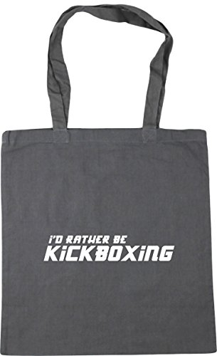HippoWarehouse I'd Rather Be Kickboxing Tote Shopping Gym Beach Bag 42cm x38cm, 10 litres Graphite Grey