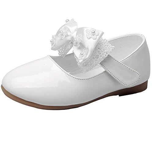 MAXU Little Girls Adorable Mary Jane Dress Shoes,White,Toddler,8M -