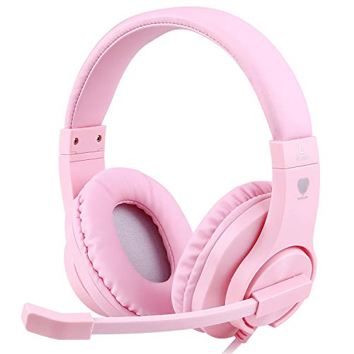 Meedasy Kids Adults Over-Ear Gaming Headphone for Xbox One, Bass Surrounding Stereo, PS4 Gaming Headset with Microphone and Volume Control for Laptop, PC, Wired Noise Isolation (Pink)
