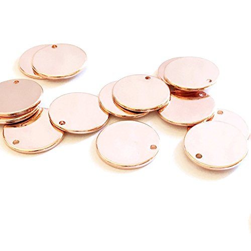 25 Pieces - 16K Rose Gold Plated Coin Disc Charm Round Stamping Blank Tag Metal Jewelry Making Supply Blank Initial Charm Holiday Gift .5