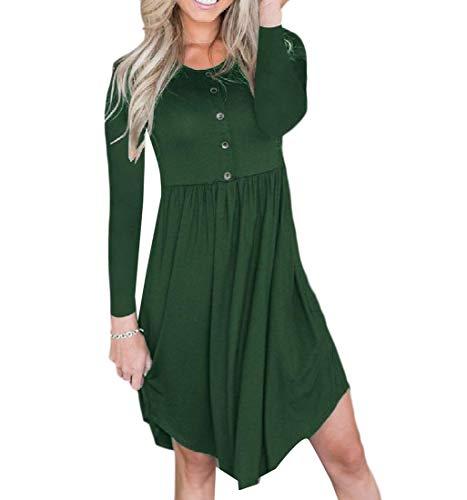 Coolred-slim Femme Occasionnels Grande Pendule Crewneck Automne Robe T-shirt Vert Bouffante