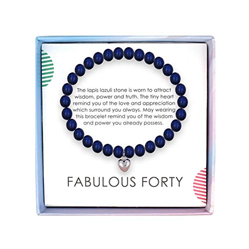 SOLINFOR 40th Birthday Gifts for Women - Lapis Lazuli Beads Bracelet - 40 Years Old Jewelry Gift Idea for Her (Gift Birthday Ideas Women 40th)