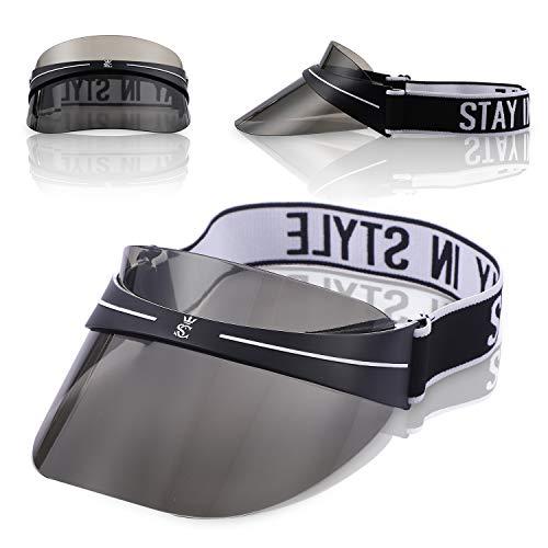 (AKININIE Sun Transparent Visor Hat UV Protection,2019 Summer Style Black Sun Hat with Adjustable Headband)
