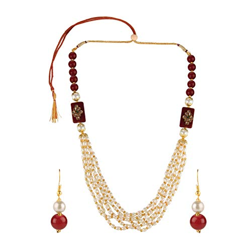 Efulgenz Indian Bollywood Multi Layered Red Faux Ruby Pearl Beads Bridal Necklace Earrings Wedding Jewelry Set for Women