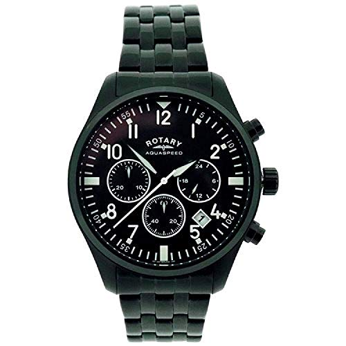 Rotary Men's Aquaspeed Chronograph Black Dial Black Ion Plated Stainless Steel