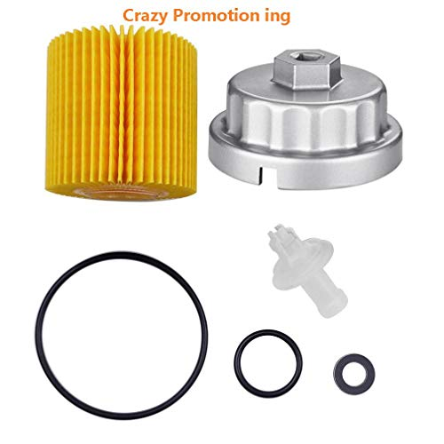 Ibetter Genuine Oil Filter with Wrench for Toyota, Lexus, RAV4, Camry, Tundra, Highlander, Sienna and More,Oil Drain Plug Gasket, Oil Filter Housing Cap Removal Tool Set for Oil Change ()