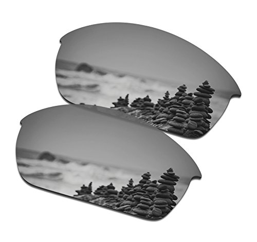 SmartVLT Men's Silver Titanium Replacement Lenses for Oakley Flak Jacket Sunglass - Titanium Replacement