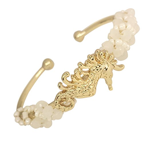 - Bead Wrapped Simple Theme Boutique Style Cuff Bracelet (White Gold Tone Seahorse)