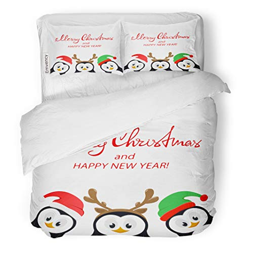 Semtomn Decor Duvet Cover Set Twin Size Text Merry Christmas and Happy New Year Three Little 3 Piece Brushed Microfiber Fabric Print Bedding Set Cover ()