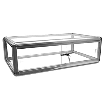 Aluminum and Tempered Glass Top Display Case Measures 30 wide by 18 deep and 9 tall.