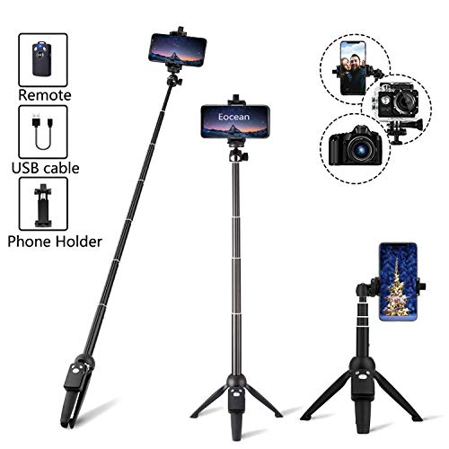 (Eocean 40-inch Selfie Stick Tripod, Extendable Selfie Stick Tripod Stand with Wireless Remote, Compatible with iPhone Xs/Xr/Xs Max/X/8/8 Plus/Samsung Galaxy Note 9/S9/Huawei/Honor/Google and More)
