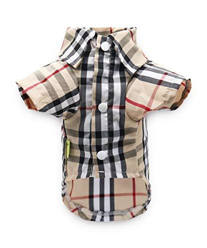 DroolingDog XS Dog Plaid Shirt Polo Shirts Dog Tee Shirts for Small Dogs Boy, XS, Brown
