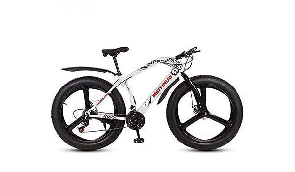 QZ 26 Bicicletas de montaña Bicicletas Pulgadas for Hombres Mujeres, Fat Tire Bike MTB, Doble Disco de Freno, chasis rígido Acero de Alto Carbono: Amazon.es: Deportes y aire libre