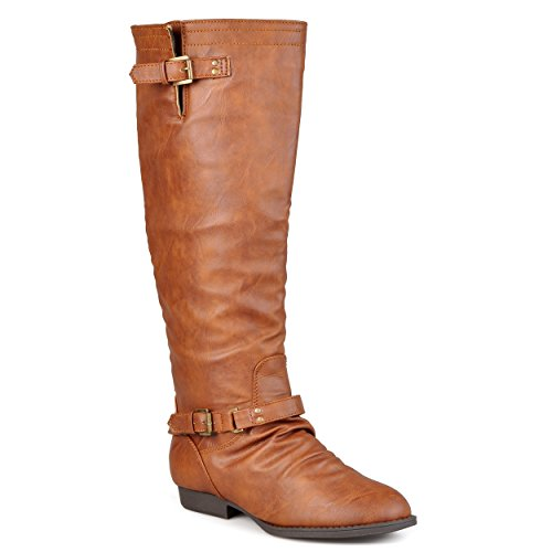 Journee Collection Womens Regular Sized and Wide-Calf Knee-High Buckle-Strap Riding Boots Camel 8 (Riding A Camel)