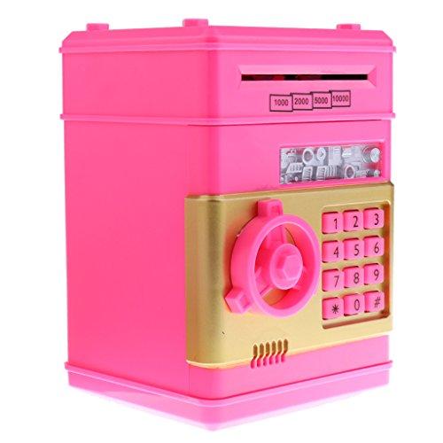 Blesiya Caja de Ahorro de Moneda Hucha de Rodillo Automático, Regalo para Niños - Rosa Roja