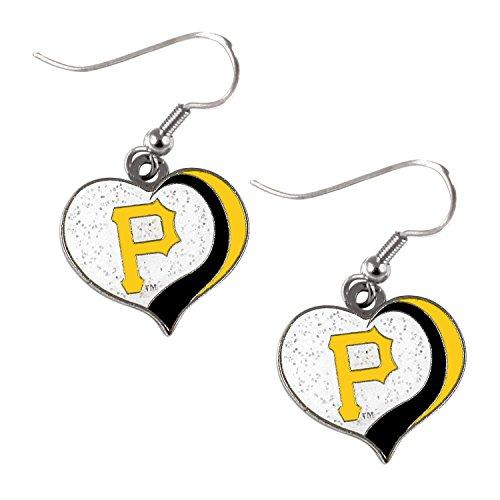 Pittsburgh Pirates MLB Sports Team Logo Glitter Heart Earring Swirl Charm ()