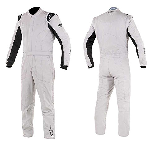 Alpinestars Delta Auto Racing Suit Boot Cut 2 Layer - Size 62 - Silver / Black - FIA/SFI Approved (3355617-191-62)