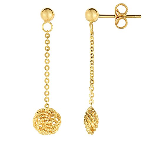 14K Yellow Gold Love Knot Drop Earrings by JewelryAffairs (Image #3)