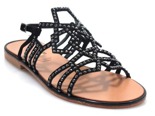 Albano 4894 Womens Flat Dressy Strappy Glitret Sandal, Svart