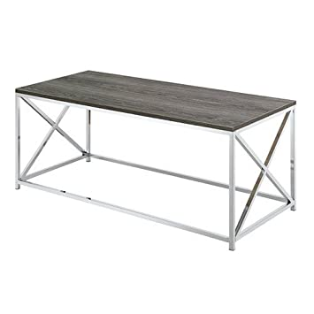 Convenience Concepts Belaire Coffee Table, Chrome Weathered Gray