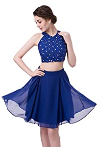 Emmani Women's Two Pieces Crystal Beaded Halter Homecoming Dresses Party Gown