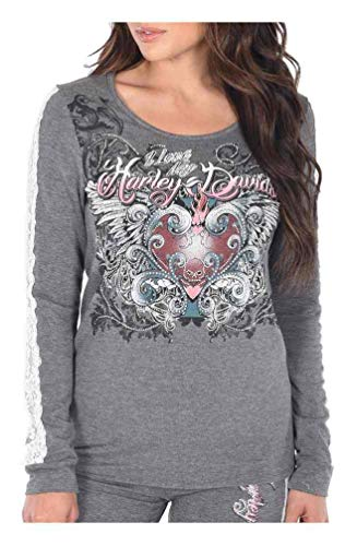 (Harley-Davidson Women's Love My Harley Long Sleeve Lace Trim Sleep Shirt (1X))