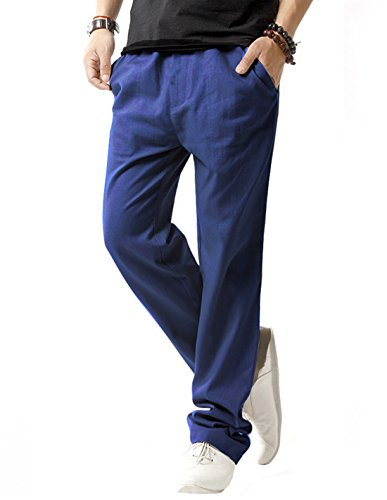 (SIR7 Men's Linen Casual Lightweight Drawstring Elastic Waist Summer Beach Pants Navy Blue 2XL)